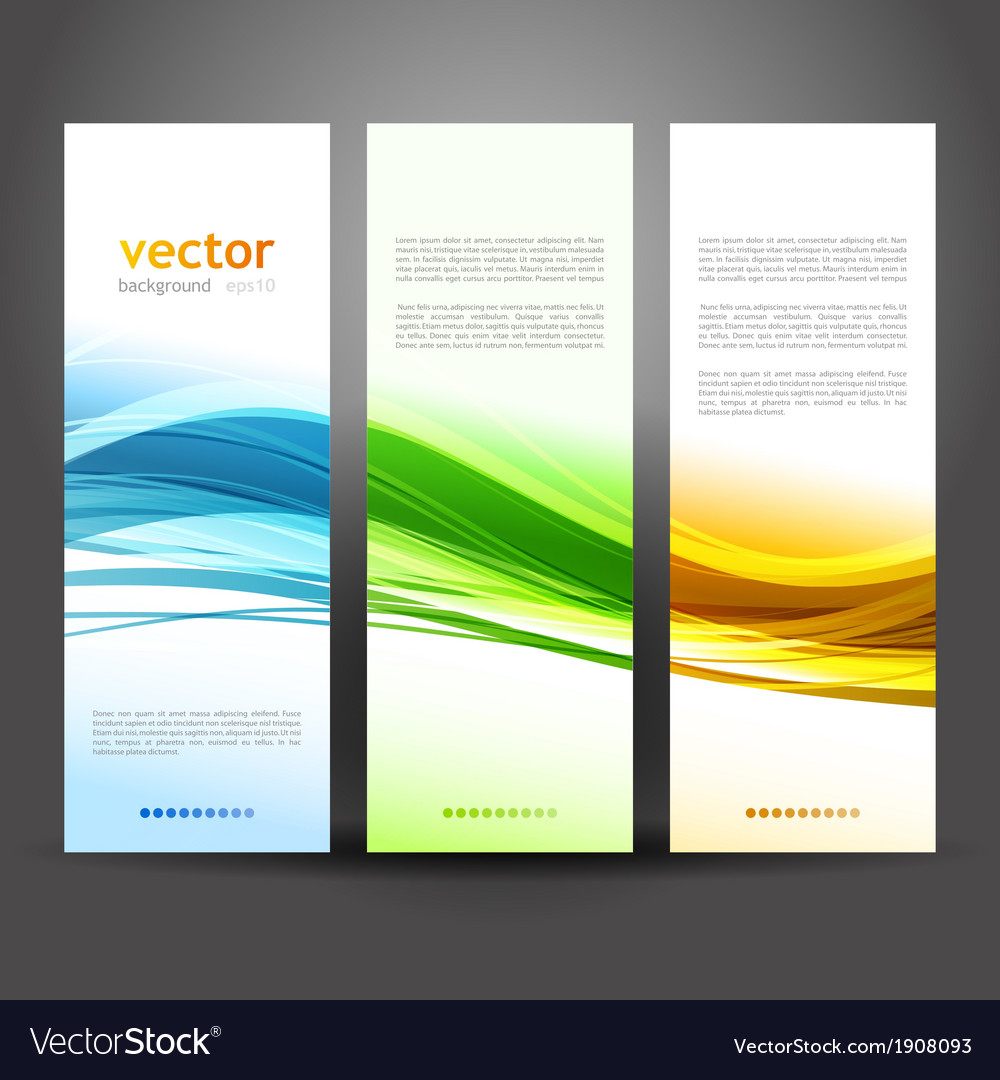 Collection banners modern wave design vector | Price: 1 Credit (USD $1)