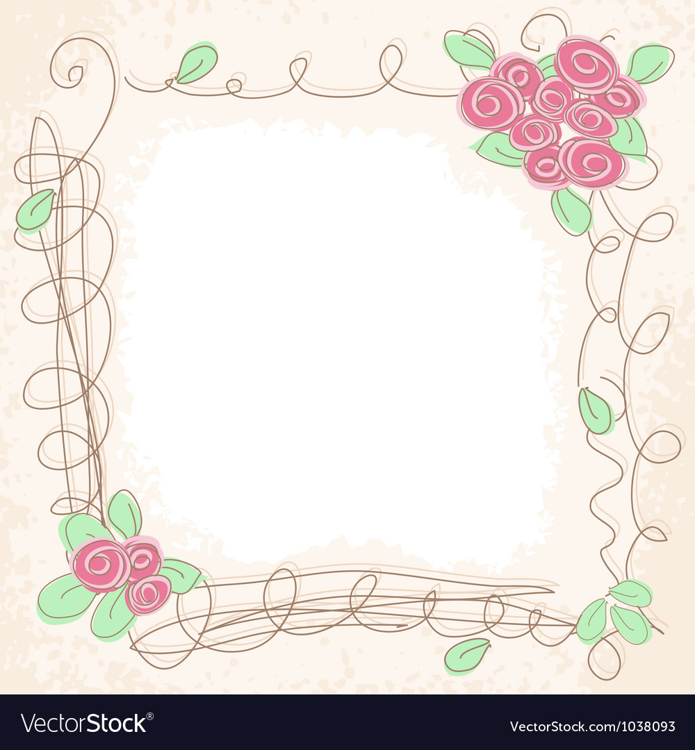 Floral doodle frame vector | Price: 1 Credit (USD $1)