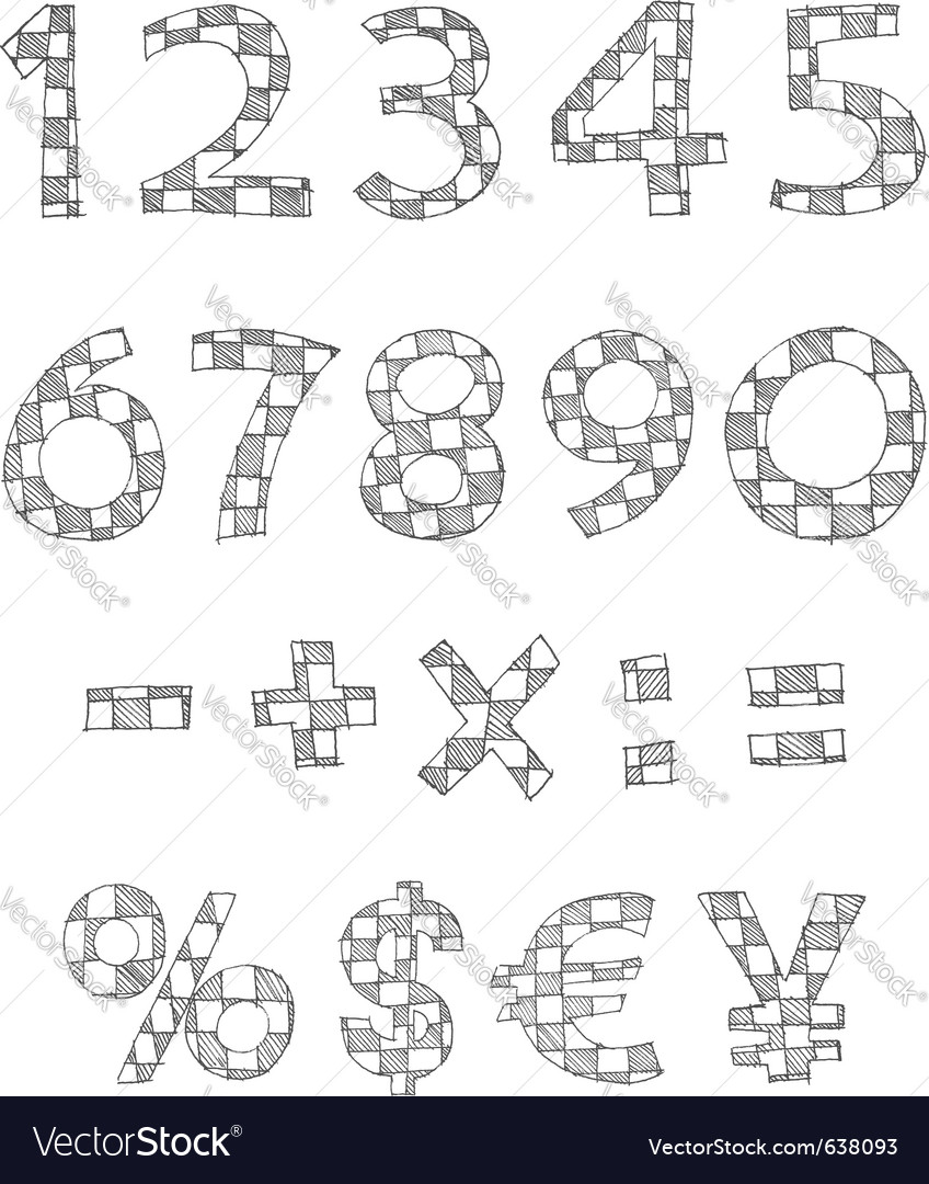 Hand written checkered numbers vector | Price: 1 Credit (USD $1)