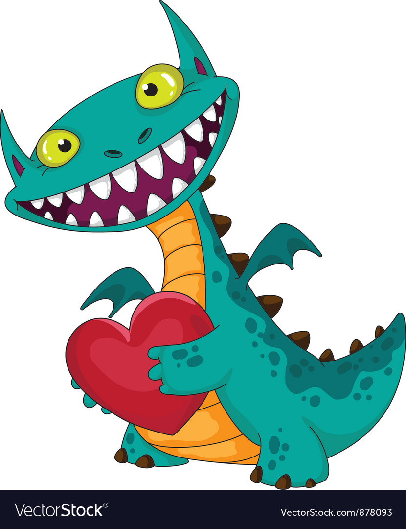Laughing dragon and heart vector | Price: 3 Credit (USD $3)