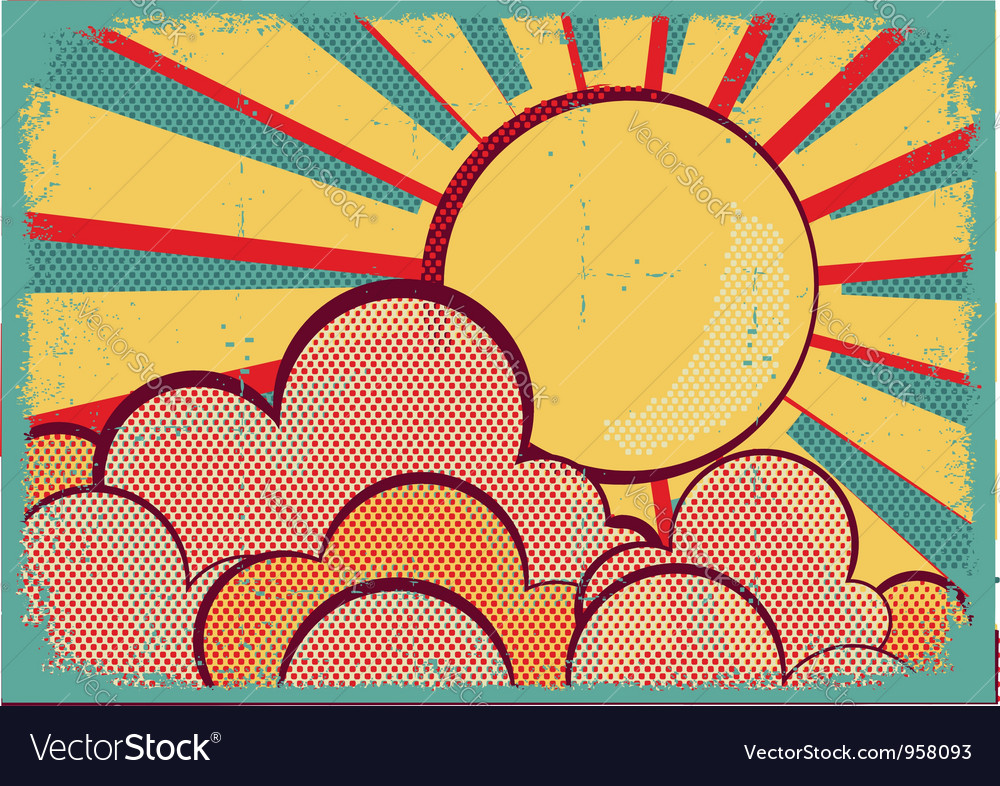 Louds and sunretro nature sky on old paper texture vector | Price: 1 Credit (USD $1)