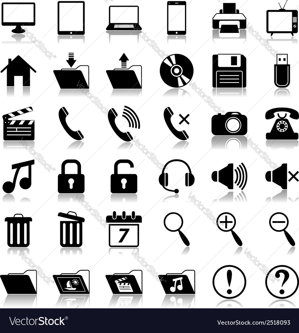 Media icons set vector | Price: 1 Credit (USD $1)