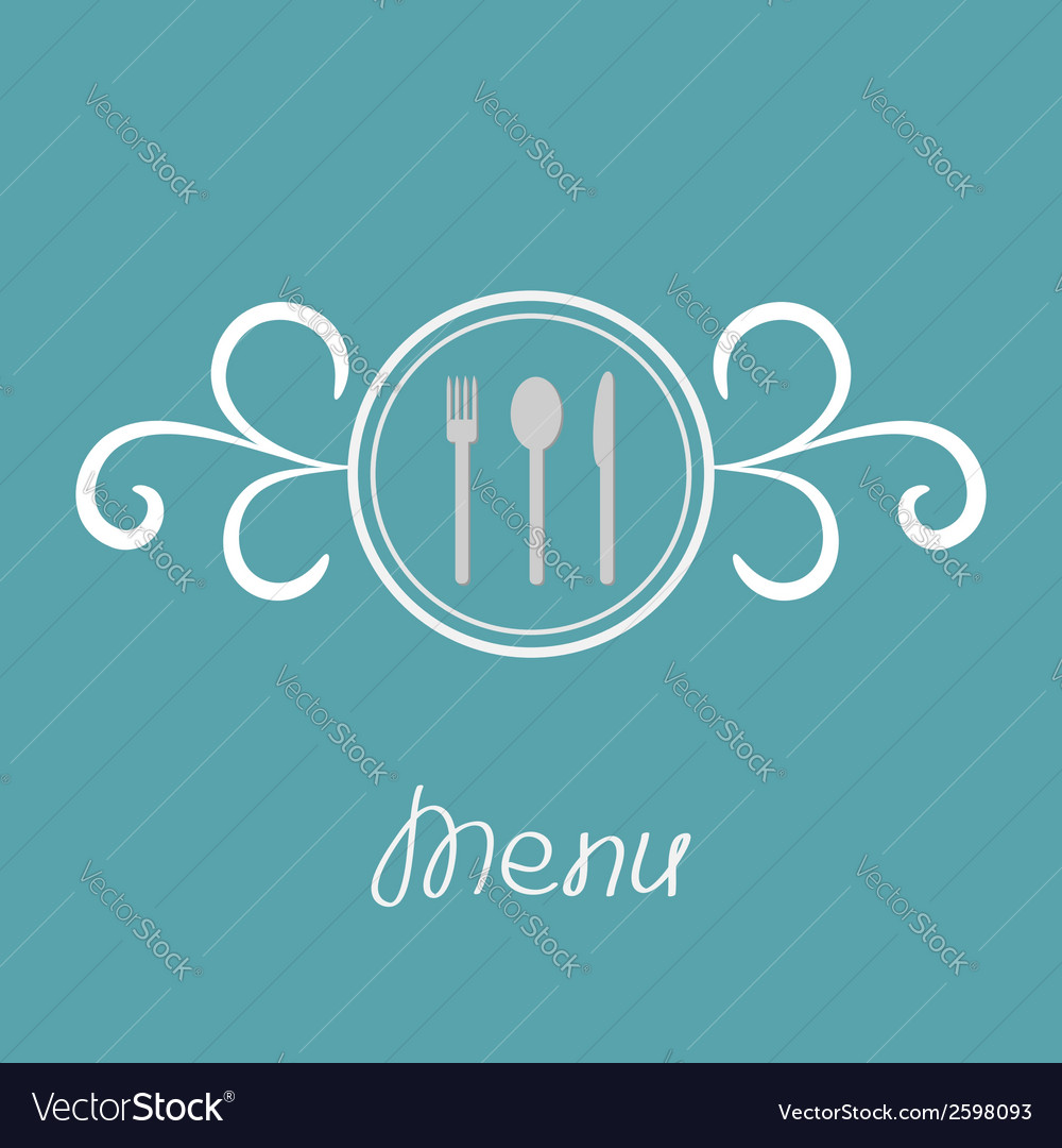 Silver fork knife spoon inside round calligraphic vector | Price: 1 Credit (USD $1)