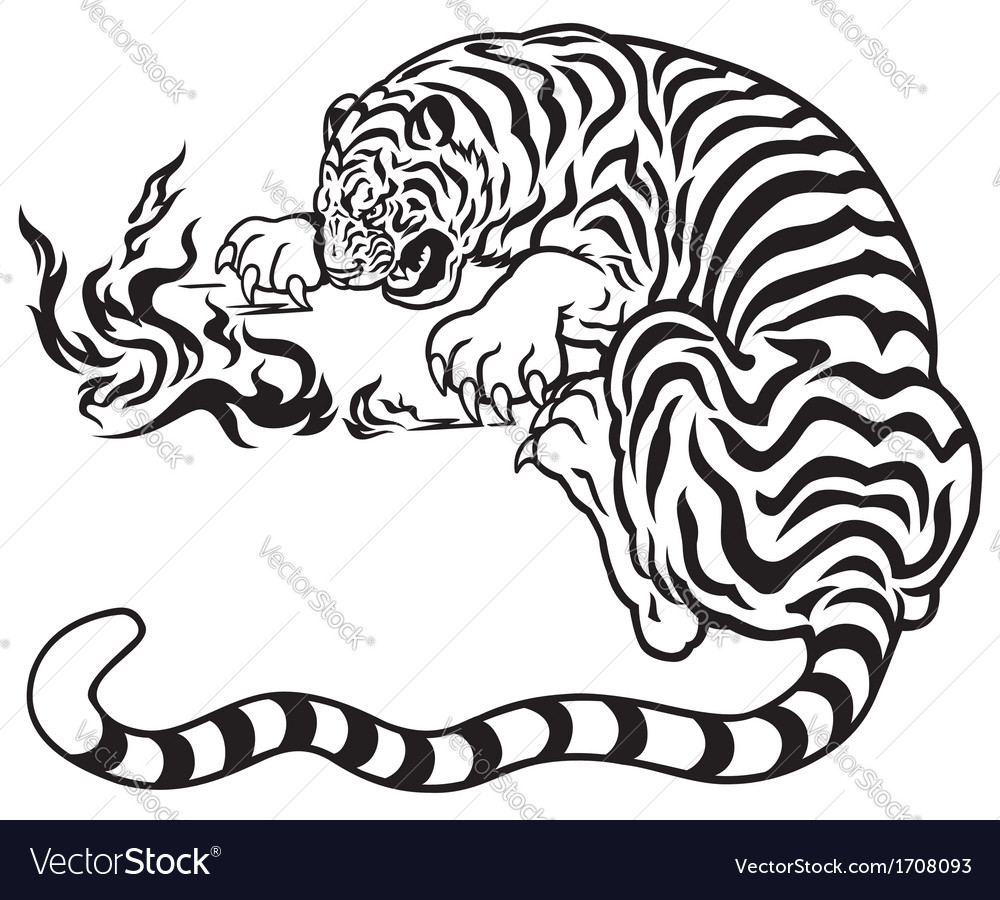 Tiger with fire black white vector | Price: 1 Credit (USD $1)