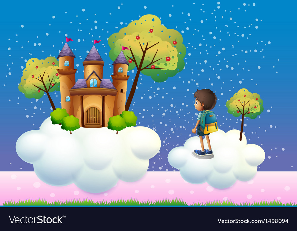 A boy and a castle above the clouds vector | Price: 1 Credit (USD $1)