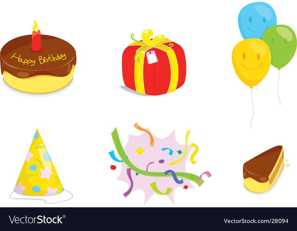 Birthday icons set vector   Price: 1 Credit (USD $1)