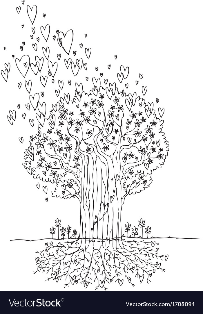 Black and white tree of love vector | Price: 1 Credit (USD $1)