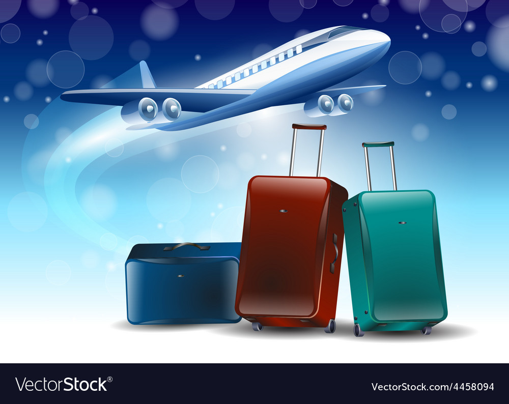 Blue background around the fly tourism travel vector | Price: 1 Credit (USD $1)