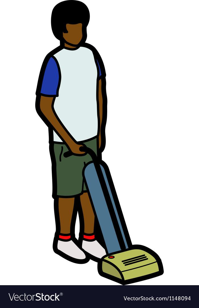 Boy vacuuming vector   Price: 1 Credit (USD $1)