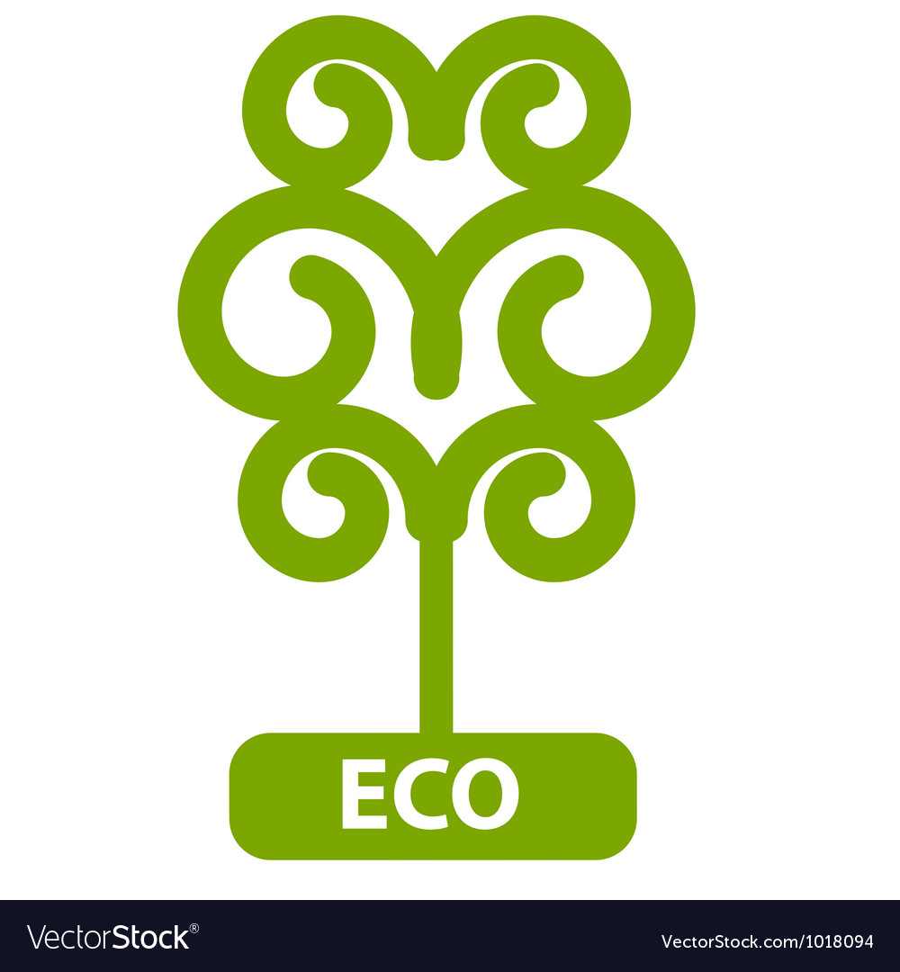 Eco tree isolated on white background vector | Price: 1 Credit (USD $1)