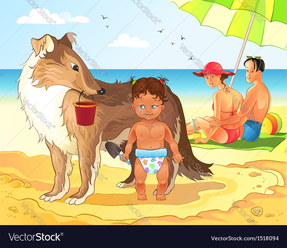Family beach vacations vector | Price: 5 Credit (USD $5)