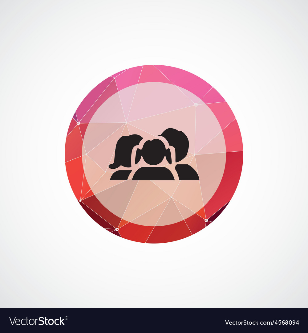 Family circle pink triangle background icon vector | Price: 1 Credit (USD $1)