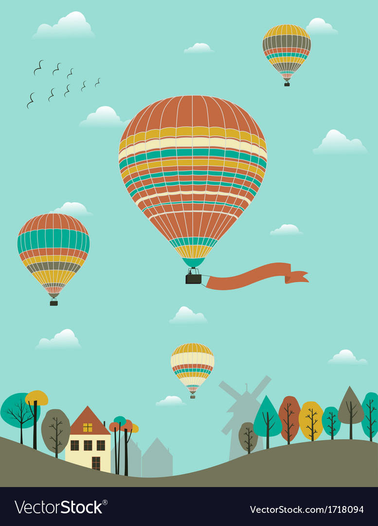 Hot air balloons over the country vector | Price: 1 Credit (USD $1)