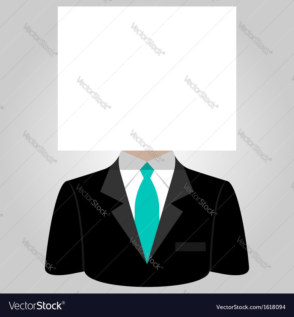 Man with a white paper sheet on the head vector | Price: 1 Credit (USD $1)