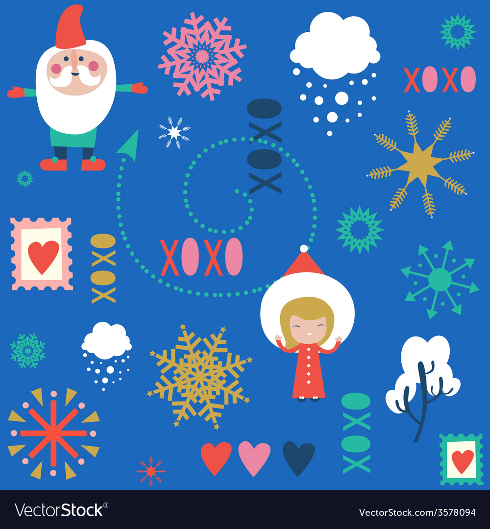 Seamless festive pattern with santa vector | Price: 1 Credit (USD $1)