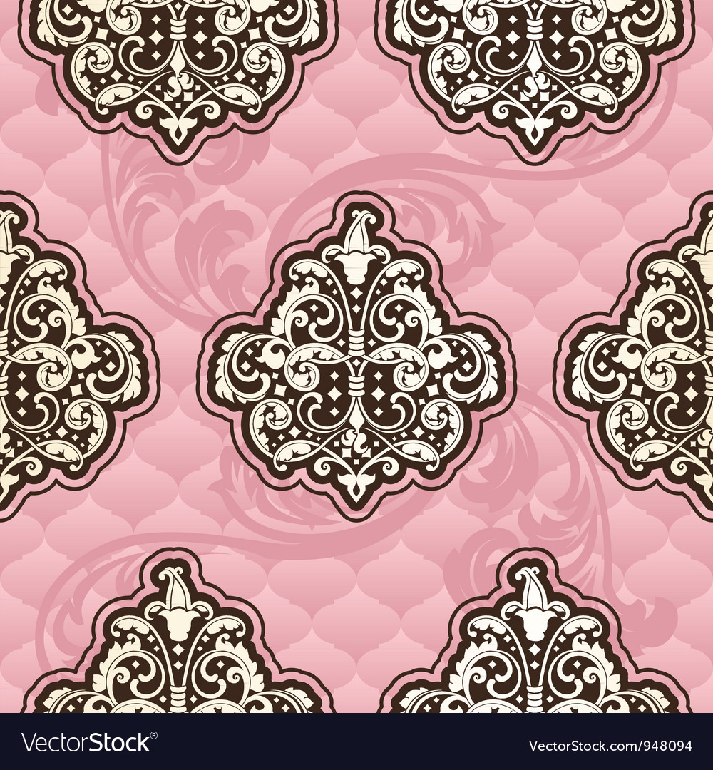 Seamless rococo floral in pink vector | Price: 1 Credit (USD $1)