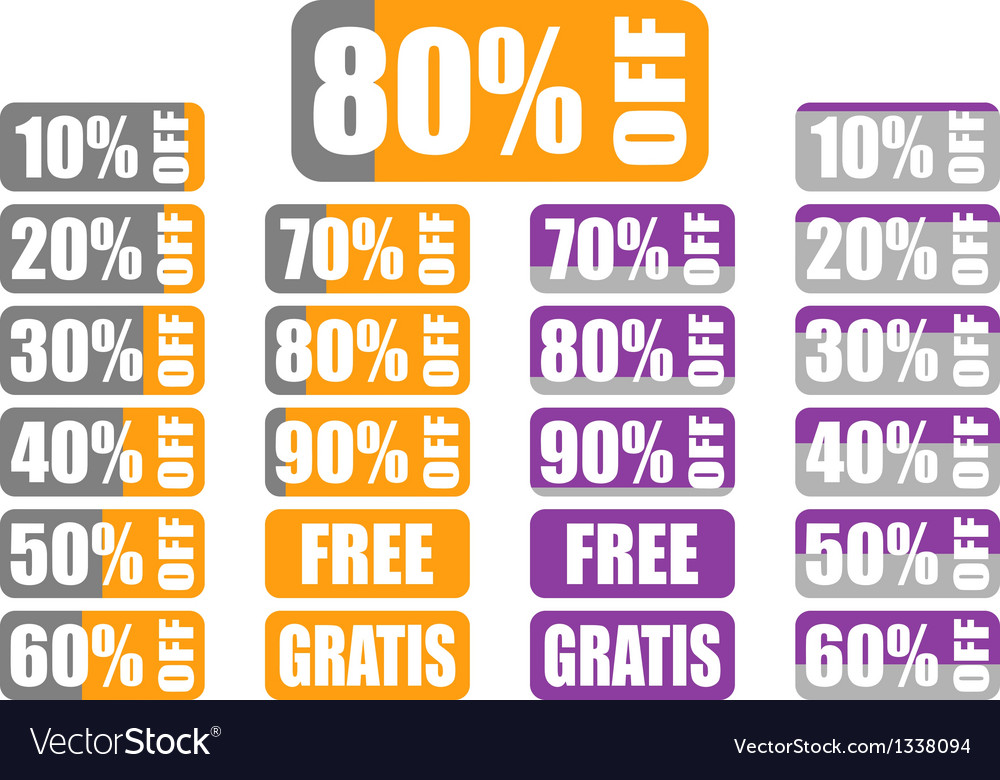 Set of percentage discount labels with indicator vector | Price: 1 Credit (USD $1)