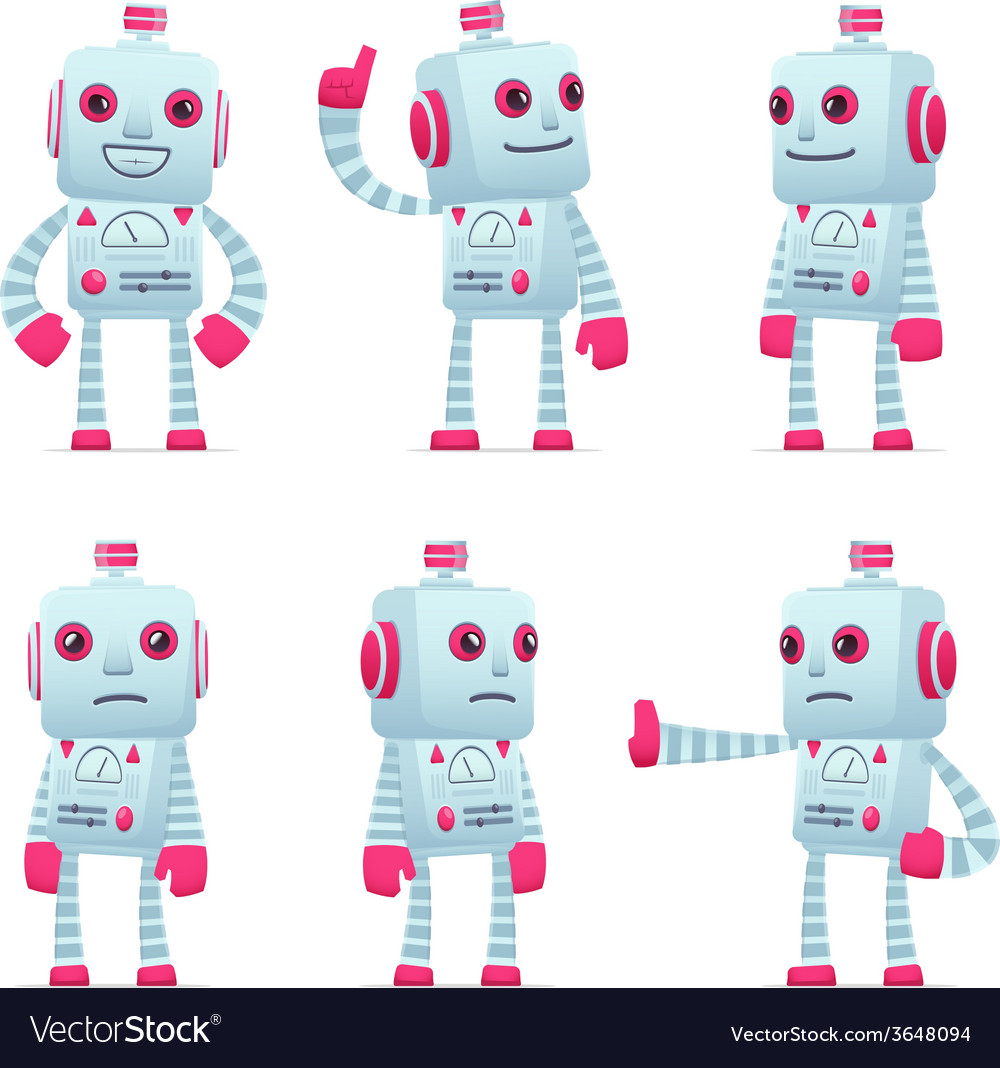 Set of robot character in different poses vector | Price: 1 Credit (USD $1)