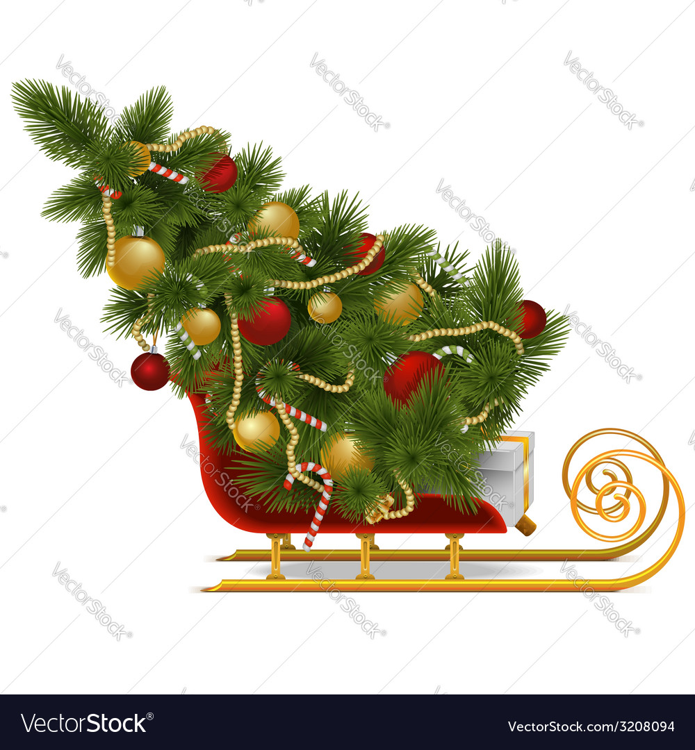Sled with christmas tree vector | Price: 3 Credit (USD $3)