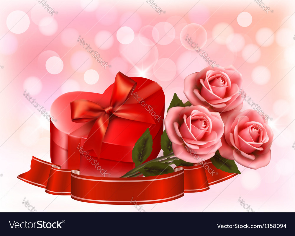 Valentines day background three red roses with red vector | Price: 1 Credit (USD $1)