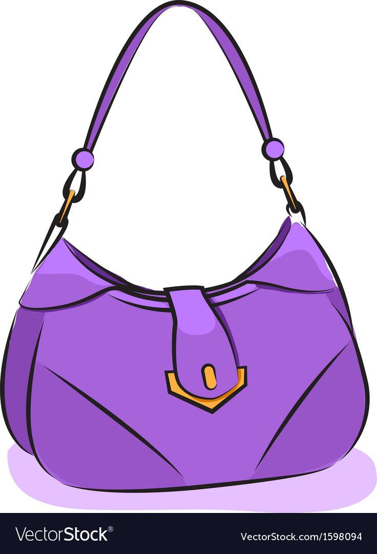 Womens purple handbag vector | Price: 1 Credit (USD $1)