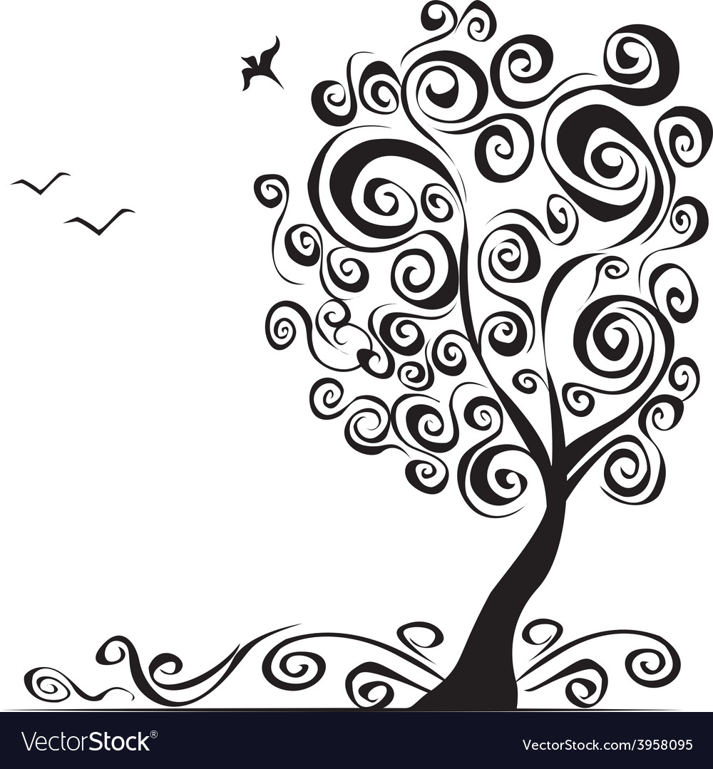 Abstract background with tree vector | Price: 1 Credit (USD $1)