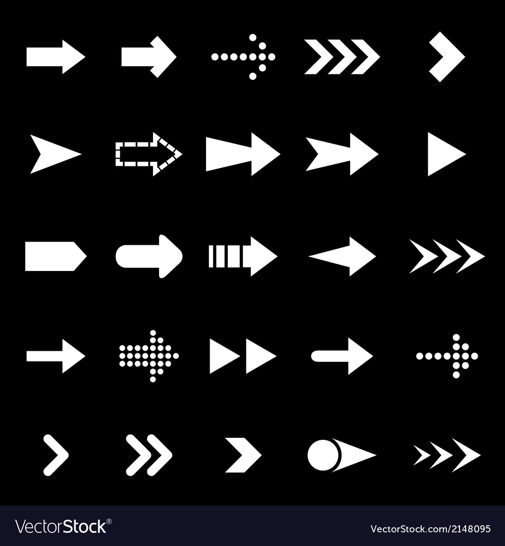 Arrow icons on black background vector | Price: 1 Credit (USD $1)