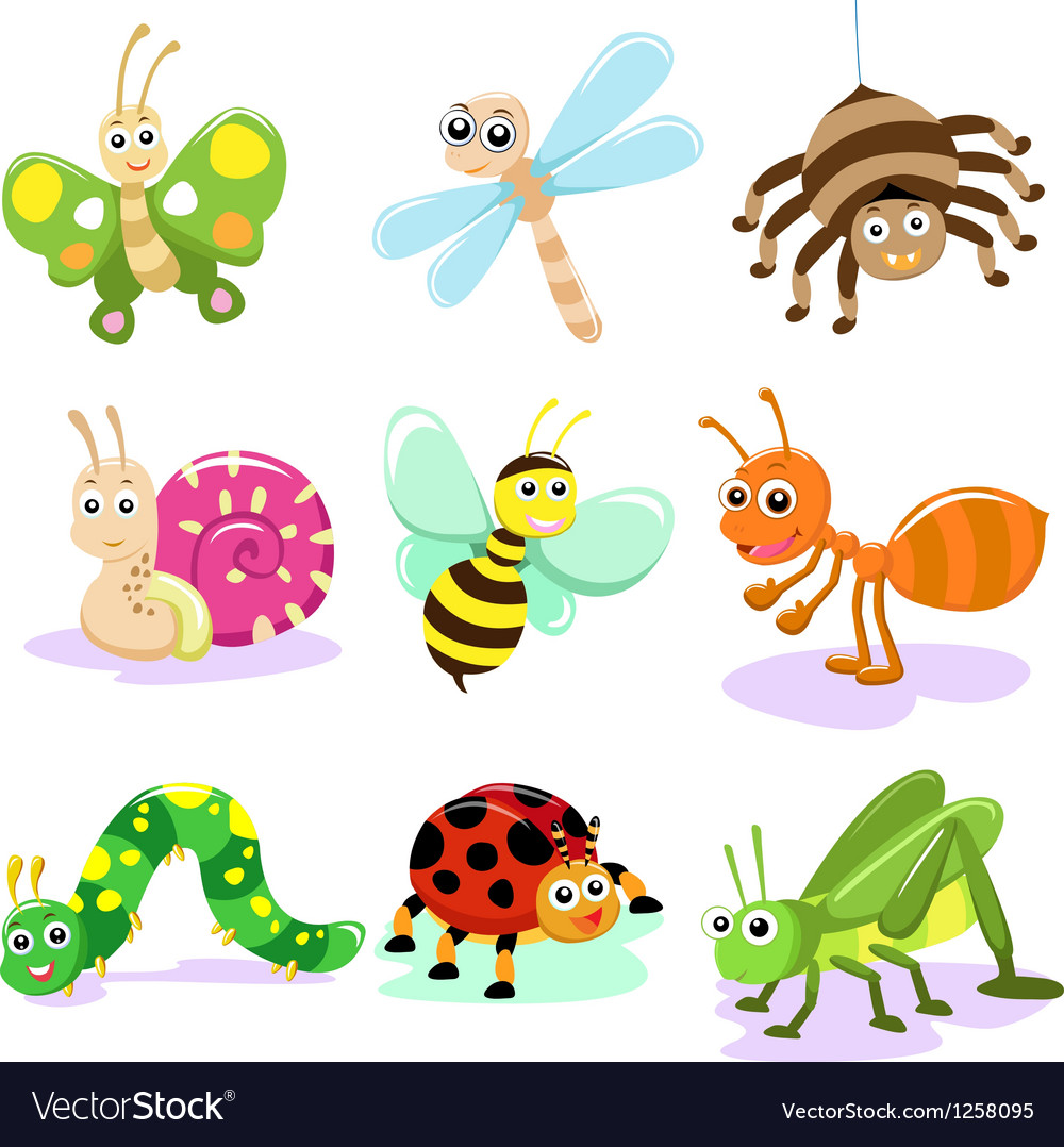 Cartoon insect set vector | Price: 1 Credit (USD $1)