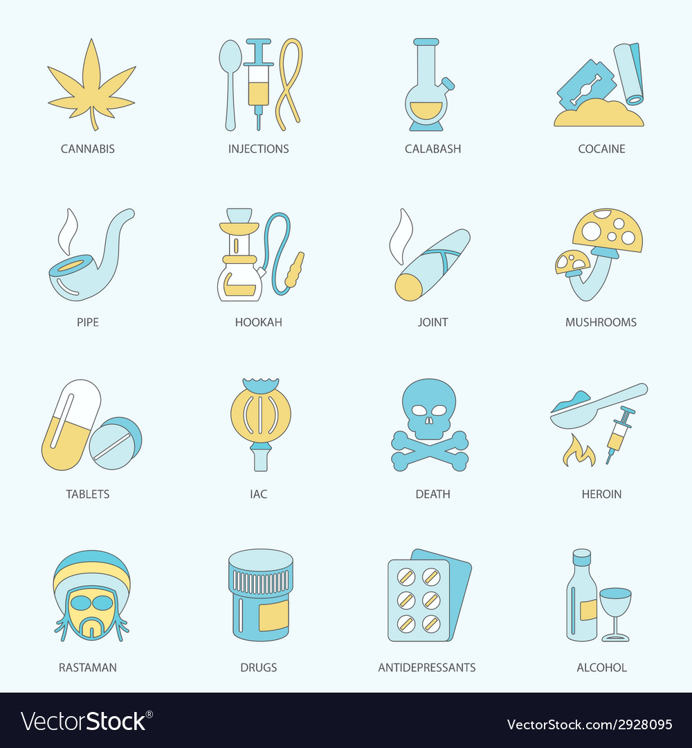 Drugs icons flat line vector | Price: 1 Credit (USD $1)