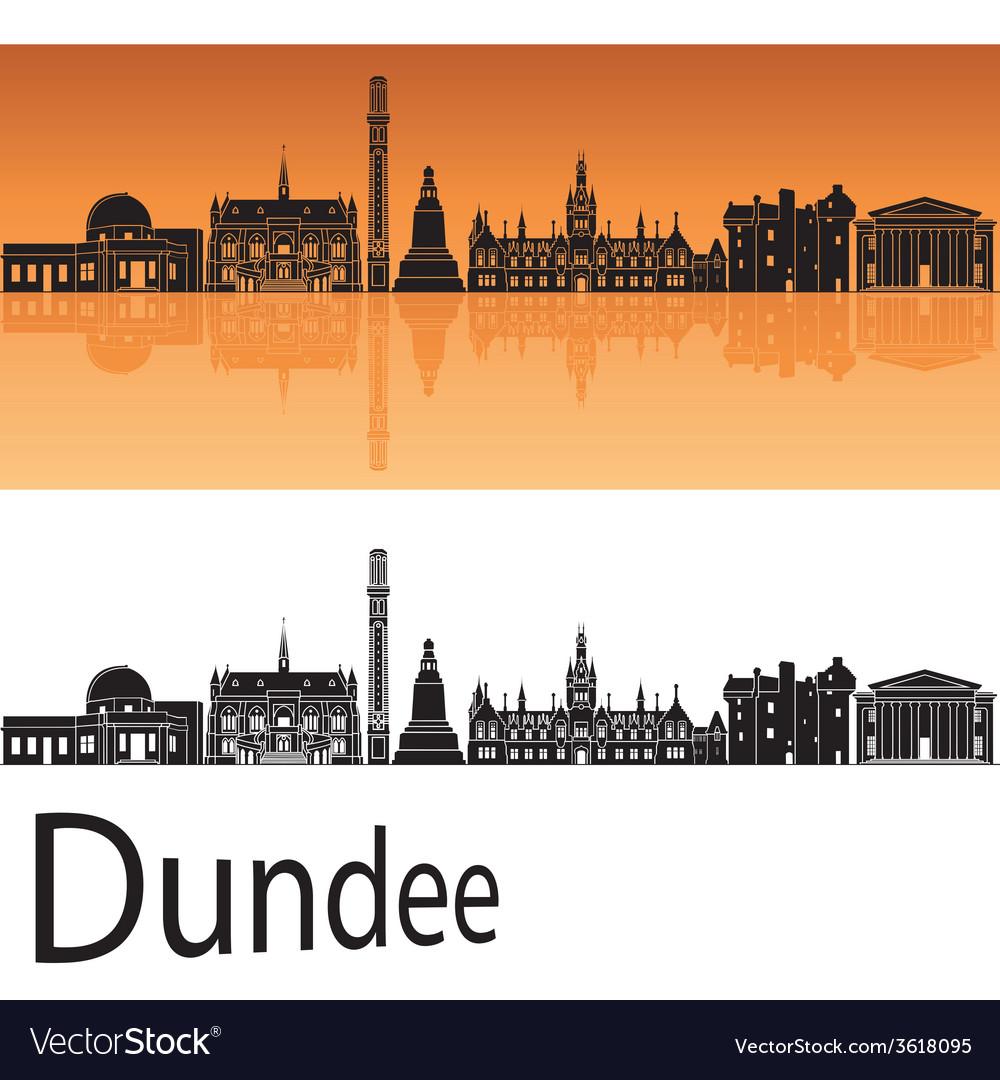 Dundee skyline in orange background vector
