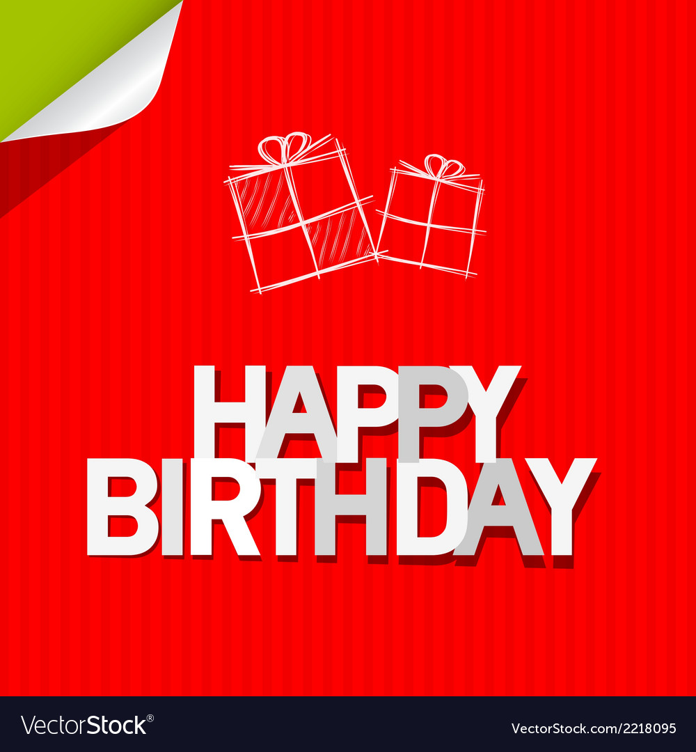 Happy birthday paper red cardboard background vector | Price: 1 Credit (USD $1)