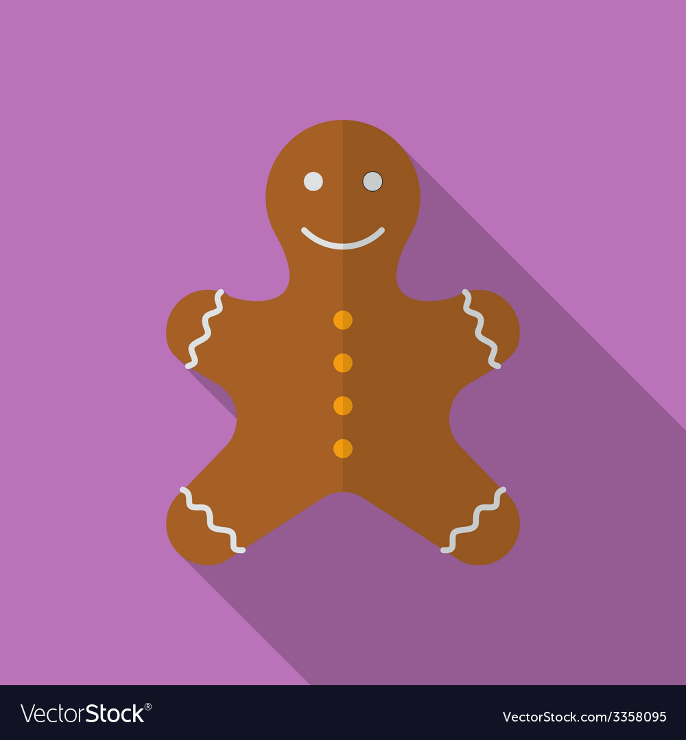 Icon of christmas gingerbread flat style vector | Price: 1 Credit (USD $1)
