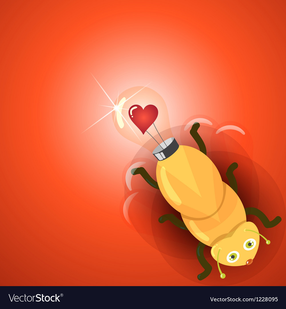 Love light bulb firefly vector | Price: 1 Credit (USD $1)