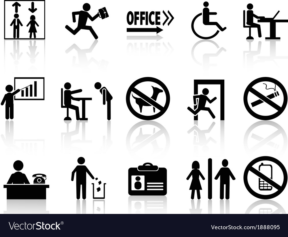 Office sign icons set vector | Price: 1 Credit (USD $1)