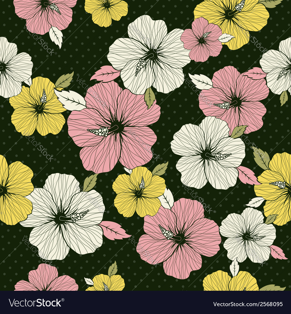 Pattern of hibiscus on green background vector | Price: 1 Credit (USD $1)