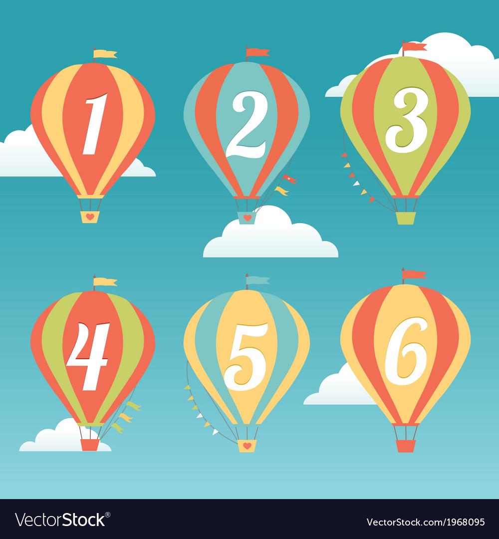 Six colorful hot air balloons vector