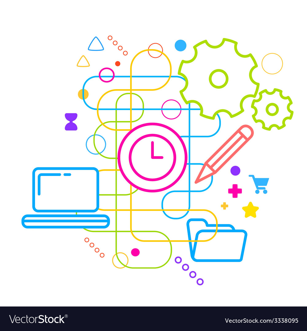 Symbols of office working at the computer on vector | Price: 3 Credit (USD $3)