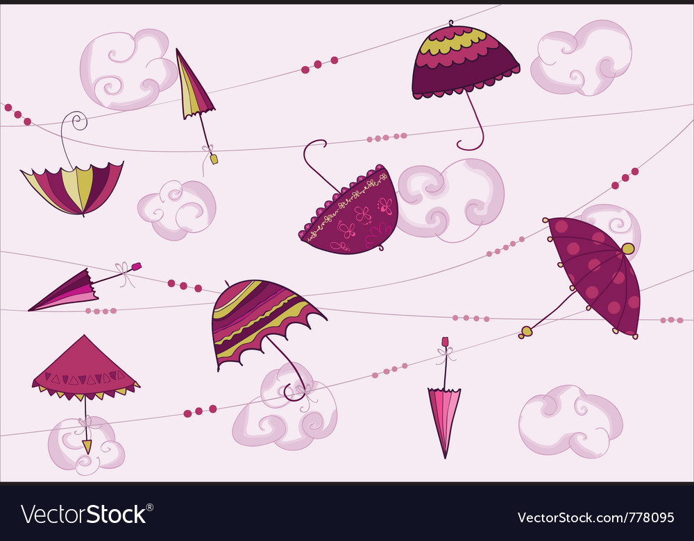 Umbrellas hanging on the rope vector | Price: 1 Credit (USD $1)