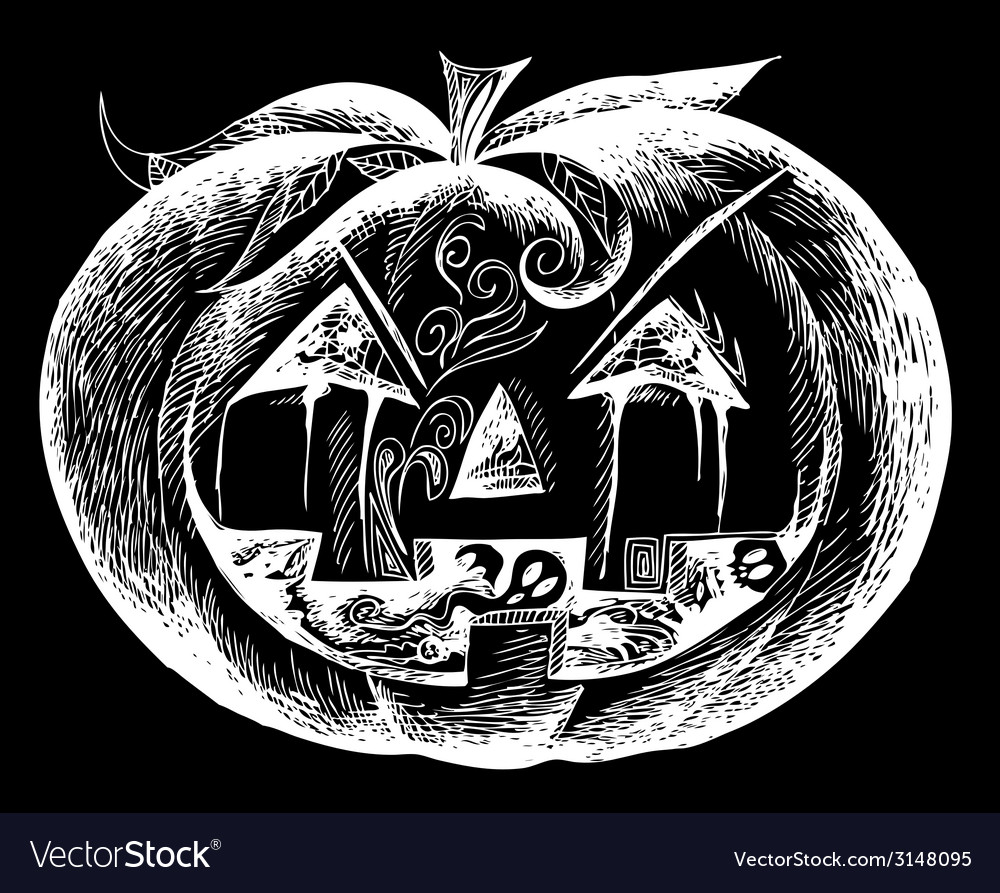 White halloween scary pumpkin vector | Price: 1 Credit (USD $1)