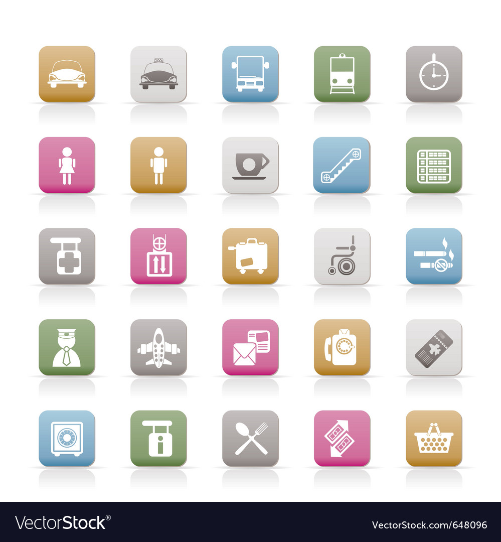 Airport and transportation icons vector | Price: 1 Credit (USD $1)