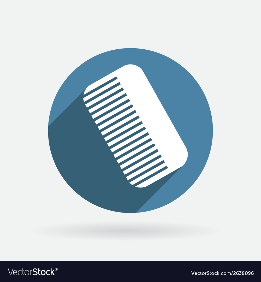 Comb barbershop circle blue icon with shadow vector | Price: 1 Credit (USD $1)