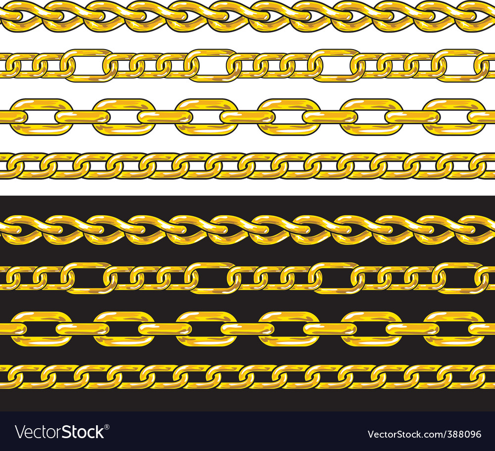 Gold chain seamless borders set vector | Price: 1 Credit (USD $1)
