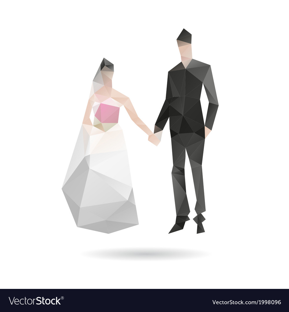 Groom and bride isolated on a white vector | Price: 1 Credit (USD $1)