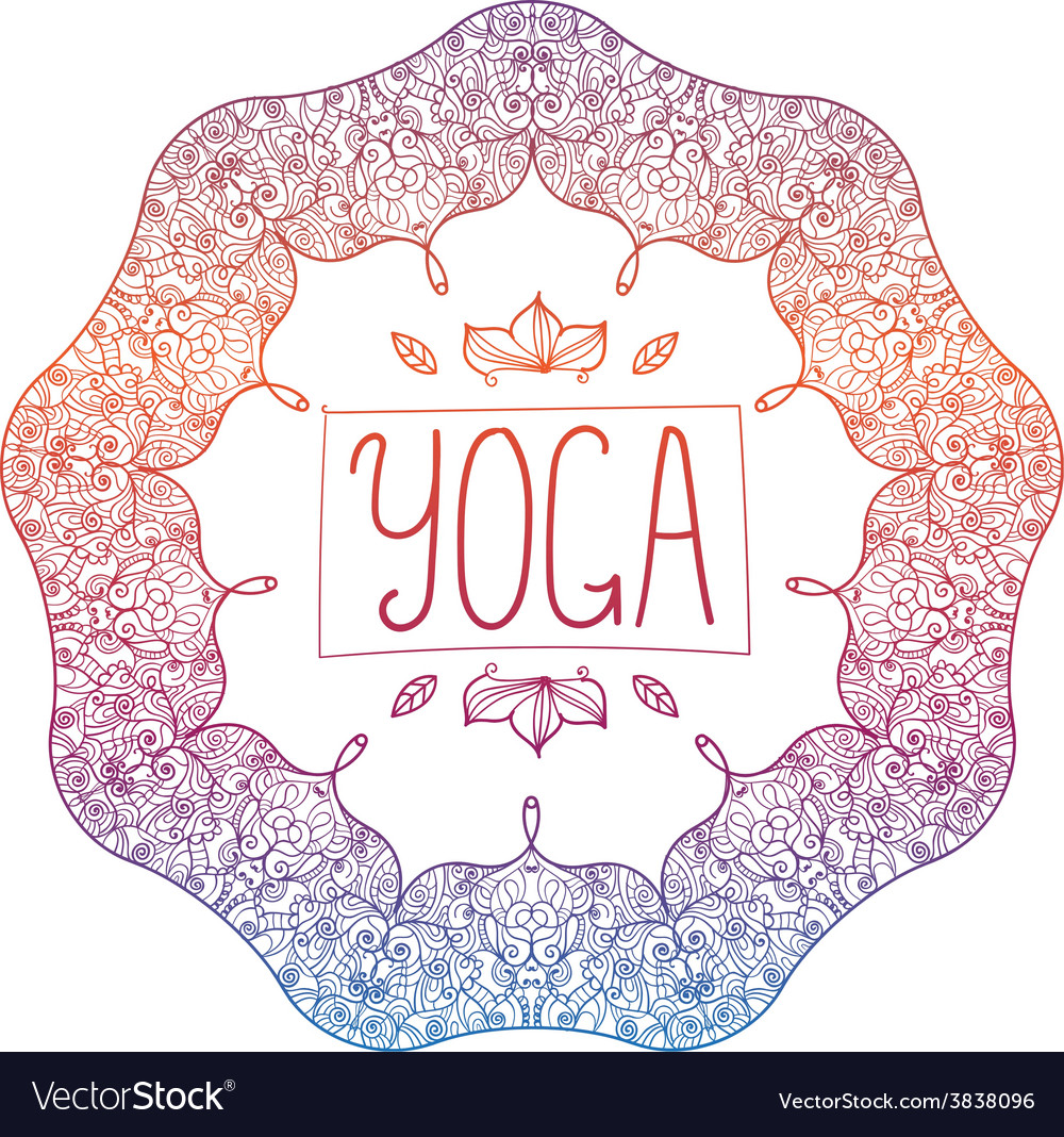 Hand drawn ornamental colorful yoga badge vector | Price: 1 Credit (USD $1)