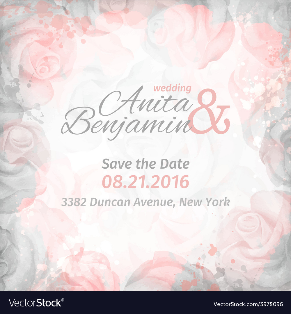 Invitation to the wedding abstract romantic rose vector | Price: 1 Credit (USD $1)