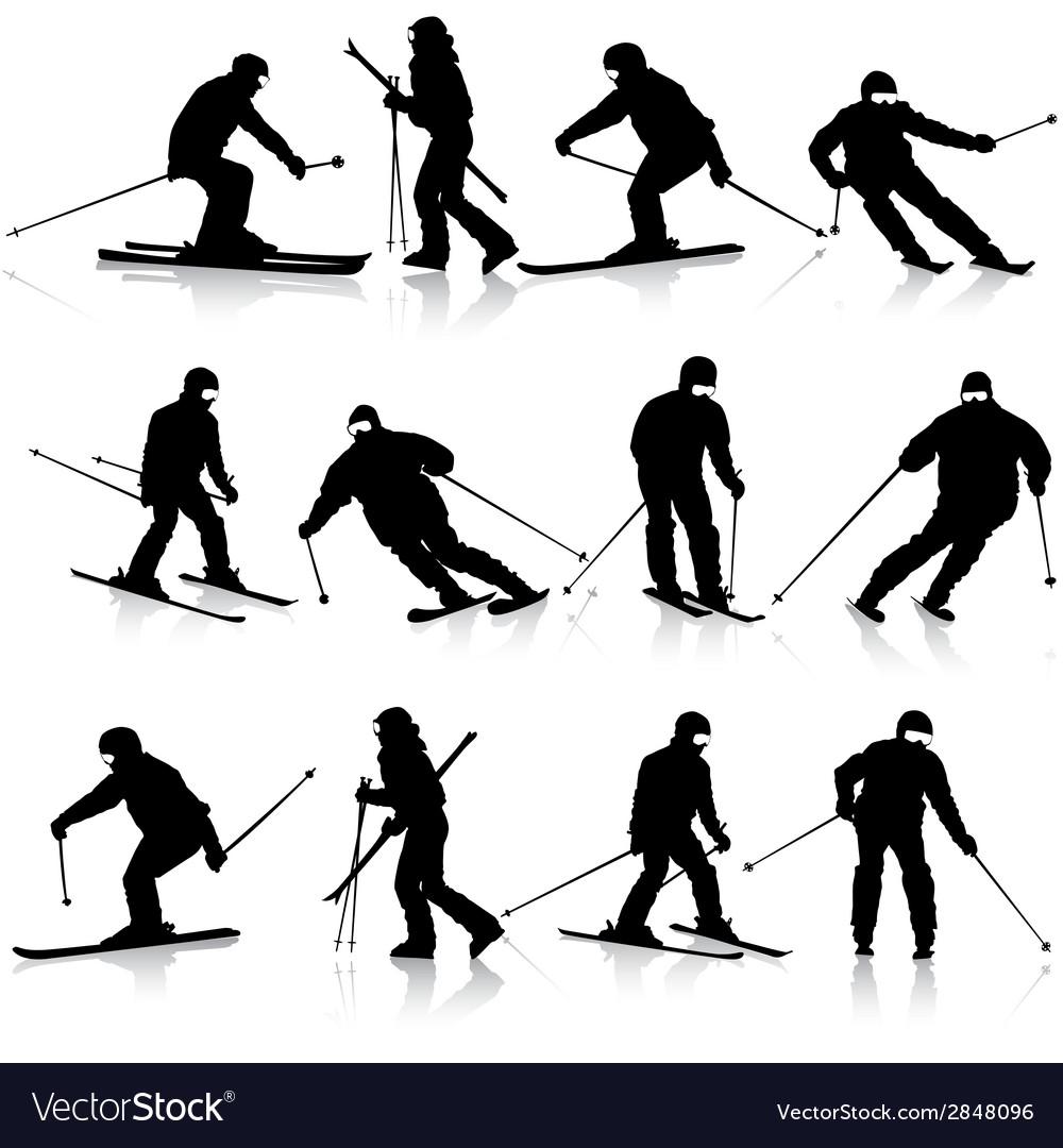 Mountain skier man speeding down slope sport vector | Price: 1 Credit (USD $1)