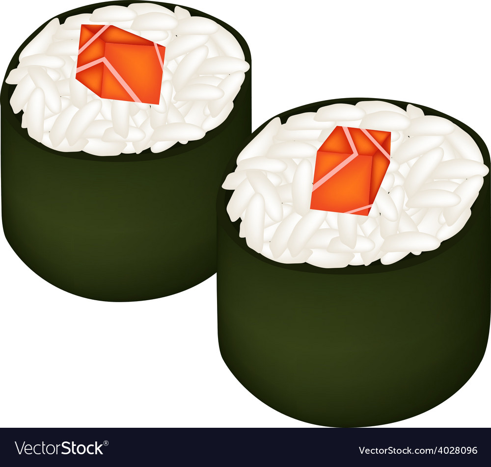 Salmon sushi roll or salmon maki isolated on white vector | Price: 1 Credit (USD $1)