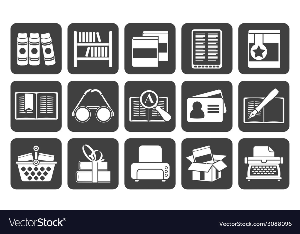 Silhouette library and books icons vector | Price: 1 Credit (USD $1)