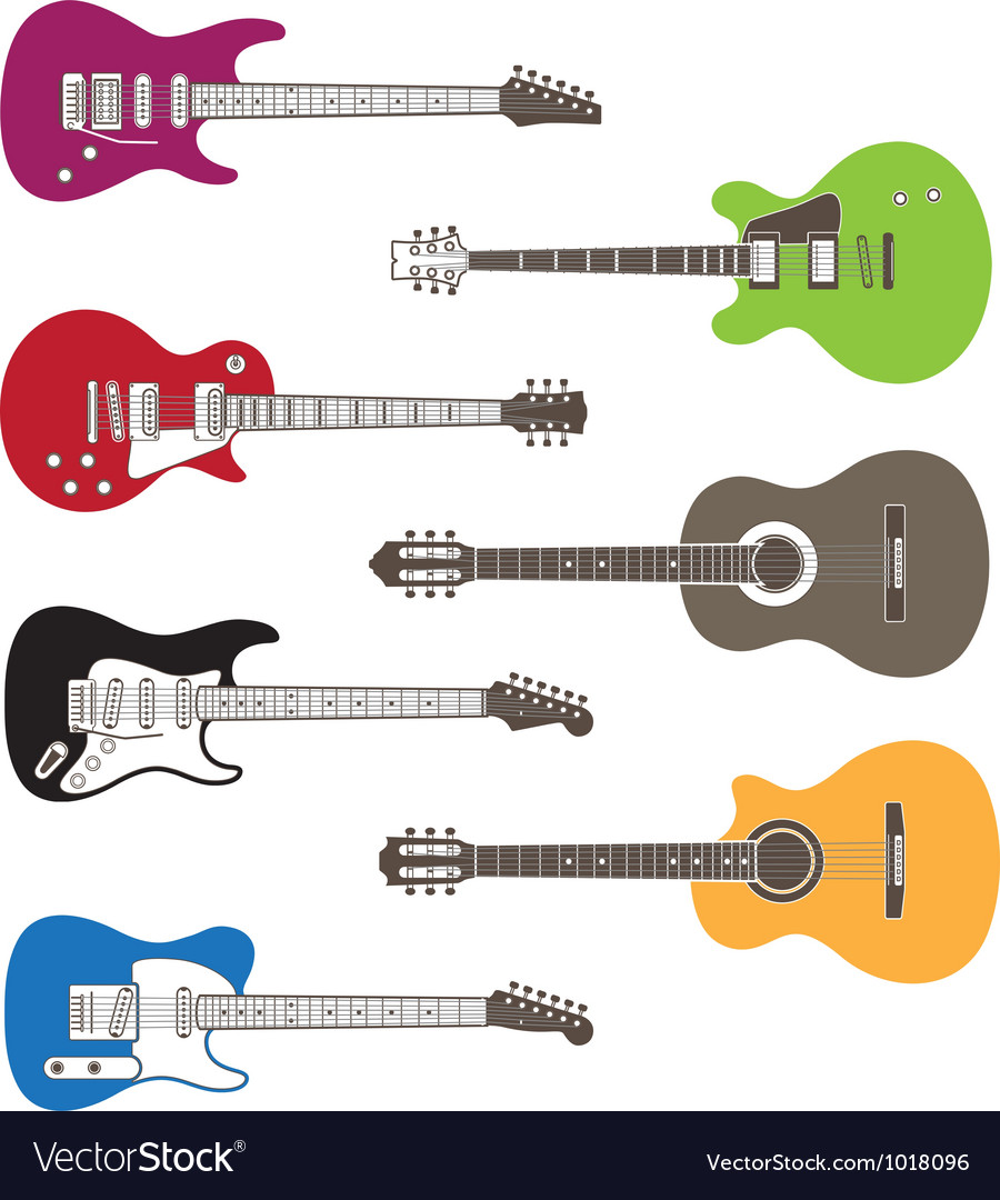 Silhouettes of acoustic and electric guitars vector | Price: 1 Credit (USD $1)
