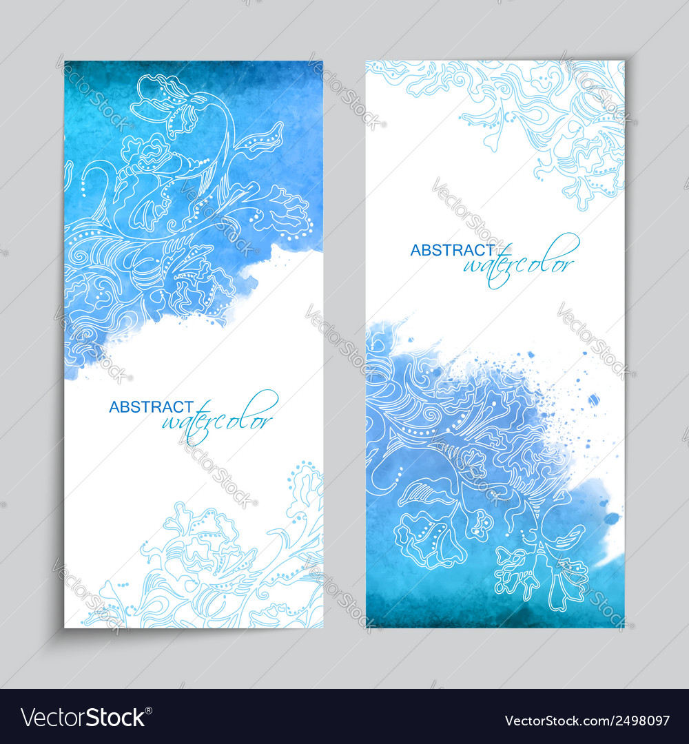 Abstract watercolor blue banners vector | Price: 1 Credit (USD $1)